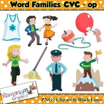 CVC short vowel op clip art