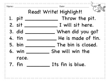 CVC short vowel-read, write, highlight
