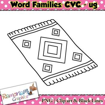 CVC short vowel ug clip art