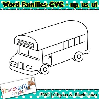 CVC short vowel up, us & ut clip art