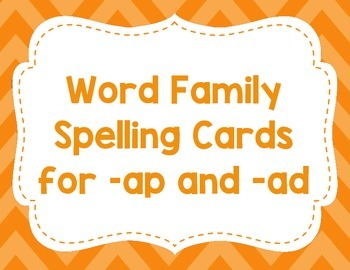 CVC spelling cards for -ap and -ad