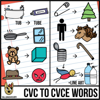CVC to CVCe Clip Art (Sneaky e Before & After)