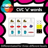 CVC 'u' words spelling, matching letters and picture cards