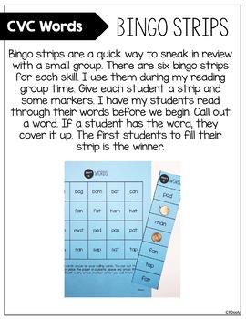 CVC Word Bingo Strips