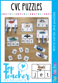 CVC word cards and puzzles pack