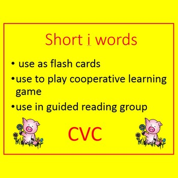 CVC short i word cards and I have Who has game