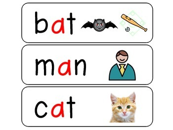 CVC word cards with pictures
