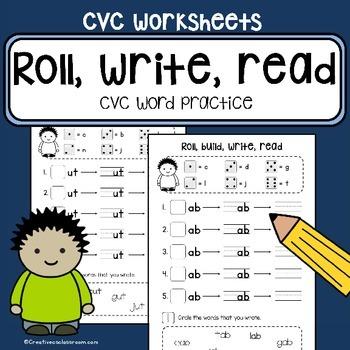 CVC word family practice - Roll, build, write, read - literacy center work