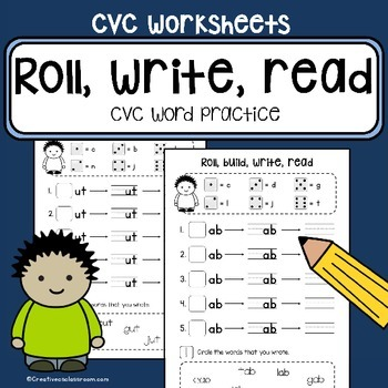 CVC word family practice - Roll, build, write, read - literacy center work