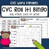 CVC word family Bingo - Roll, trace, write - literacy center + morning worksheet