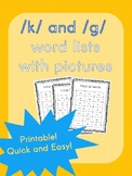 CVC word list with pictures- /k/ and /g/ sounds
