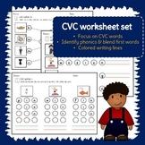 CVC word worksheet set - blend, connect, write - Literacy morning work - 25 p.