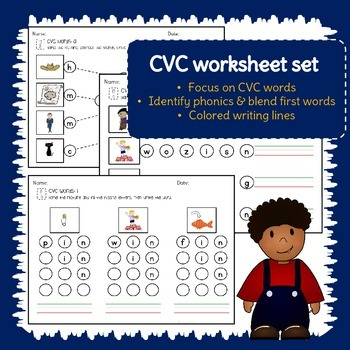 CVC word worksheet set - blend, connect, write - Literacy morning work - 25 p.