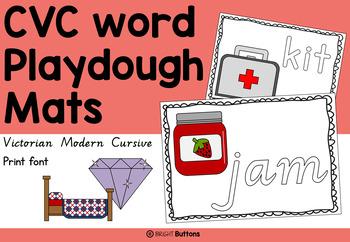 CVC words Playdough Mats Victorian Modern Cursive