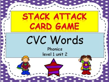 "CVC words ""Stack Attack"" Card Game"