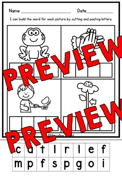 CVCC AND CCVC WORKSHEETS CUT AND PASTE (WORD WORK ACTIVITY KINDERGARTEN, GRADE 1