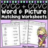 CVCC And CCVC Word and Picture Matching Worksheets