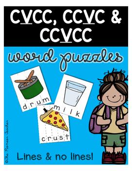 CVCC, CCVC, & CCVCC Word Puzzles