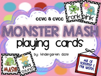 CVCC & CCVC Monster Mash Playing Cards