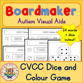 Visual Aids for Autism CVCC Dice and Colour Game Boardmaker