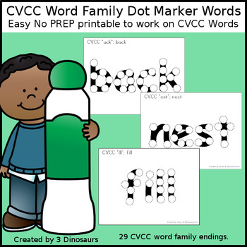 CVCC Word Family Dot Marker Pages