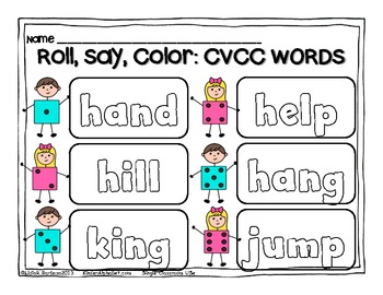 CVCC Words Roll, Say, Color Gametivity