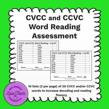 CVCC and CCVC Word Reading Assessment