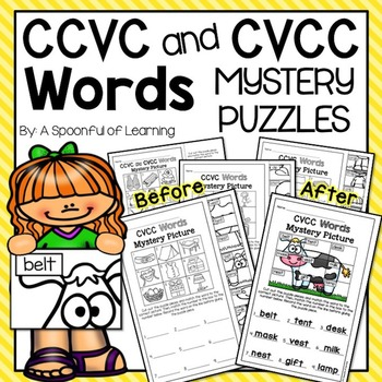CVCC and CCVC Words Mystery Puzzles