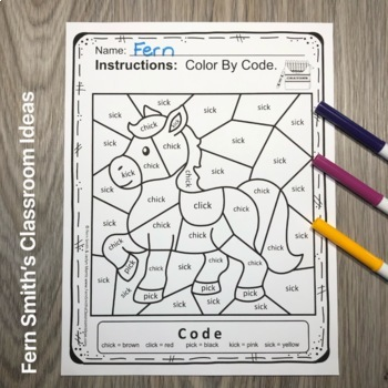 CVCC and CCVCC Words -ick Family Short i Color By Codes For Struggling Readers