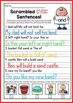 CVCC: scrambled sentences (NO PREP)