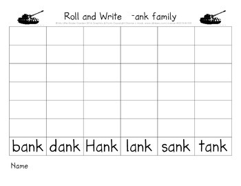 CVCC short a Roll and Write (ack, amp, and, ank, ast word families)