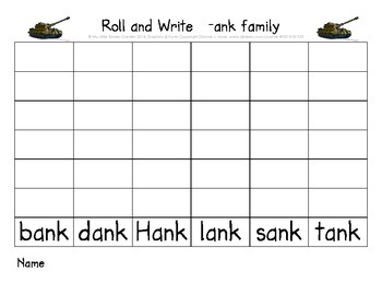 CVCC short a Roll and Write (ack, amp, and, ank, ast word