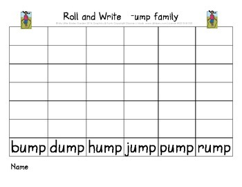 CVCC short o and u Roll and Write (ock and ump word families)