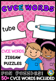 LONG VOWELS ACTIVITIES (CVCE WORD WITH PICTURE PUZZLES) MAGIC E CENTER
