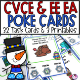 Long Vowel CVCE Activities 32 Task Poke Cards & 3 Printables Winter Theme