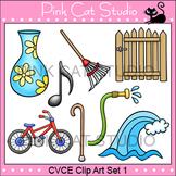 CVCE Clip Art Set 1 - bike, cane, gate, hose, note, rake, vase, wave