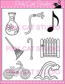 CVCE Clip Art Set 1 - bike, cane, gate, hose, note, rake, vase, wave