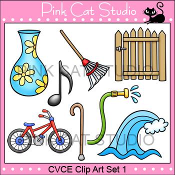CVCE Clip Art Set 1 - bike, cane, gate, hose, note, rake,