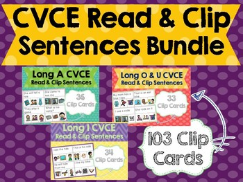 CVCE Sentences Read & Clip Cards Bundle