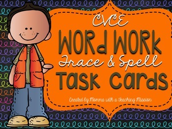 CVCE Silent E Trace and Spell Task Cards