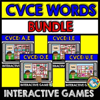 CVCE WORDS BOOM CARDS (READING MAGIC E WORDS) PHONICS ACTIVITIES FIRST GRADE