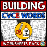 CVCE WORKSHEETS CUT AND PASTE WORD WORK ACTIVITIES GRADE 1 LONG VOWEL SILENT E
