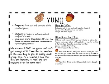 CVCE Word Practice YUM! Over 75 words to practice with