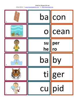 V/CV Open Syllable Card Match With Worksheet   2 Syllable Words  Cv Words