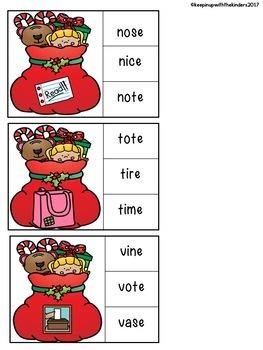 CVCe Christmas Bag Clip it Literacy Center