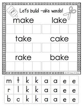 CVCe Word Work Activity Packet-NO PREP