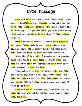 CVCe Highlighting Passage~ Magic E Words Reading Passage