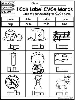 CVCe: Label the CVCe Words No Prep Packet