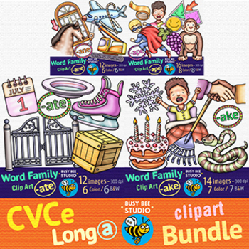 CVCe Long -A- Clip Art Bundle | Magic E Long -A-