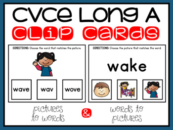 CVCe Long A Silent E Clip Cards for Literacy Centers Phonics Word Work